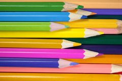 Bright colored pencils Stock Images