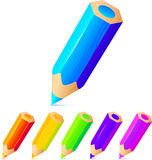 Bright colored pencils vector set Stock Photos