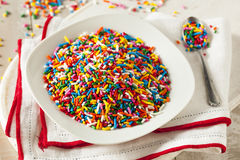 Bright Colored Rainbow Sprinkles stock images
