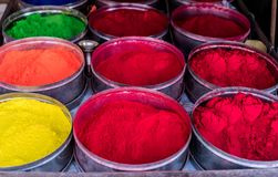 Rangoli powder for sale on Kathmandu street market. Bright-colored rangoli powder for sale on Kathmandu street market, Nepal Royalty Free Stock Images