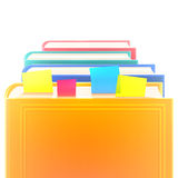 Bright colored realistic books in row with bookmarks and blank cover  on white. Stock Photos