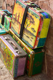 Bright colored retro suitcases for travel Stock Photography