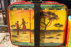 Bright colored retro suitcases for travel Stock Photos