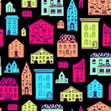 Seamless Pattern Color Houses-06 Stock Photo