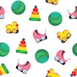 Bright colored seamless pattern with children s toys - baby carriage, ball, pyramid, duck with wheels on white. Background. Childish vector illustration for Stock Photography