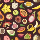 Bright colored seamless pattern with edible fresh juicy exotic tropical fruits on dark background. Backdrop with tasty. Sweet veggie food. Vector illustration Royalty Free Stock Image
