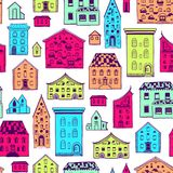 Seamless Pattern Color Houses-01. Bright colored seamless pattern with houses, doodle house vector background, cute colorfull houses in cartoon style, EPS 8 Royalty Free Stock Photography
