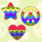 Bright colored shapes stars, hearts, pacifists. Bright colored shapes stars, hearts, pacifists in the pale seamless background Royalty Free Stock Photos