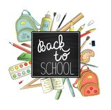 Back to school advertisement or banner royalty free illustration