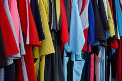 Bright colored texture of fragments of clothes Stock Photography
