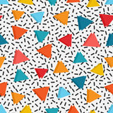 Bright colored triangles in white background with black lines and dots Stock Photography
