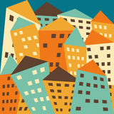 Bright colored vector fictional distorted houses Royalty Free Stock Photo