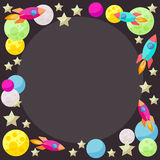 Bright colored vector space background with colorful planets and Royalty Free Stock Photos