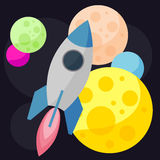 Bright colored vector space background with colorful planets and Stock Photo