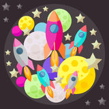 Bright colored vector space background with colorful planets and Stock Images