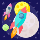 Bright colored vector space background with colorful planets and Royalty Free Stock Images