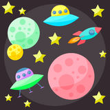 Bright colored vector space cover with colorful planets, stars, Stock Photography