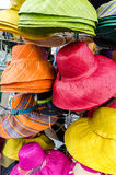 Bright colored womans hats closeup Royalty Free Stock Photo