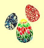 Bright colorful abstract graphic beautiful gorgeous floral herbal three Easter eggs on yellow background. Watercolor hand sketch Royalty Free Stock Photo