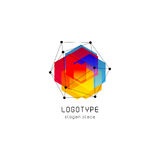 Bright colorful abstract poly construction logotype, unusual innovate design logo template, isolated polygon shape. Spiderweb from black lines with dots on Royalty Free Stock Photography