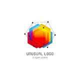 Bright colorful abstract poly construction logotype, unusual innovate design logo template, isolated polygon shape. Spiderweb from black lines with dots on Stock Photos