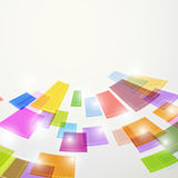 Bright colorful abstract square elements fly Stock Photography