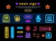 Bright Colorful Advertising Neon Signs Set Stock Photo