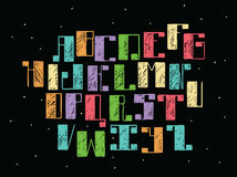 Bright colorful alphabet english letters from A to Z on black background. Hand drawn font handwritten with ink outlines and hatchi. Ng in bold parts. Flat abc vector illustration