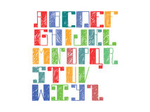 Bright colorful alphabet english letters from A to Z. Hand drawn font handwritten with ink outlines and hatching in bold parts. Fl. At  abc capital letters, good Royalty Free Stock Photography