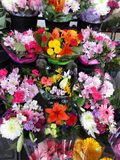 Bright colorful assortment of pretty bouquet flowers, Spring 2018 stock images