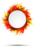 Bright and colorful autumn banner with round frame on vivid paint splashes. Vector illustration Stock Photos