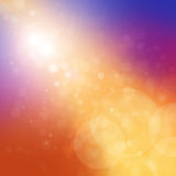 Bright colorful background with blurred bokeh lights and gold streak. Gold stream of light with white bokeh lights on purple pink and orange blurred background royalty free illustration