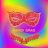 Bright colorful background with patterned mask Mardi Gras. Template cards banner or invitation. Vector illustration Stock Photography