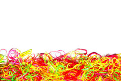 Bright Colorful background of plastic band Stock Photo