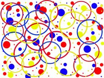 Bright colorful background with rings and circles of different colors. Vector. Stock Photography