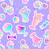 Bright colorful bakery and dessert pastry cute icons. Seamless p Royalty Free Stock Photo