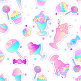 Bright colorful bakery and dessert pastry cute icons. Seamless p vector illustration