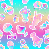 Bright colorful bakery and dessert pastry cute icons. Seamless p stock illustration