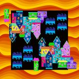 Bright colorful bandana print or silk neck scarf. Card with town in desert. Royalty Free Stock Photos