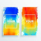 Bright colorful banner background with watercolor splashes. Vector Royalty Free Stock Photography