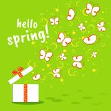 Bright colorful banner Hello Spring Cute doodle drawing butterfly on a green background Spring summer theme sale advertising eco vector illustration