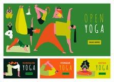 Yoga Banners Set Stock Illustration