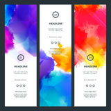 Bright Colorful Banners with Watercolor Splashes. Abstract Holi Paint Texture. Rainbow Colored Banner Design Stock Photography