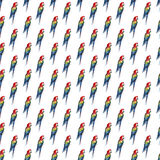 Bright colorful beautiful lovely sophisticated jungle tropical yellow, green, red and blue big tropical parrots pattern diagonal p Stock Images