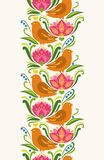 Seamless vertical pattern element in east european folkloric style. Vector illustration. Bright colorful birds and flowers on light background Royalty Free Stock Photo