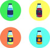 Bright colorful bottles with juice and water icons. Brigh colorful bottles with juice and water icon apple beverage blue bottle cartoon cherry circle colorful vector illustration