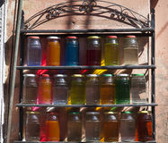 Bright colorful bottles in Morocco.  stock photography