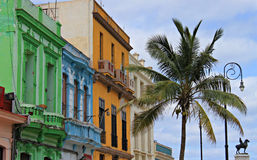 Bright colorful buildings in Havana street Stock Photography