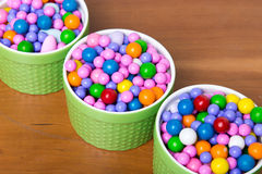 Bright colorful candy in dishes Royalty Free Stock Image