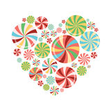 Bright colorful candy heart shape on the white. Bright colorful candy heart shape  on the white background. Concept print for sweet or love design Royalty Free Stock Photos